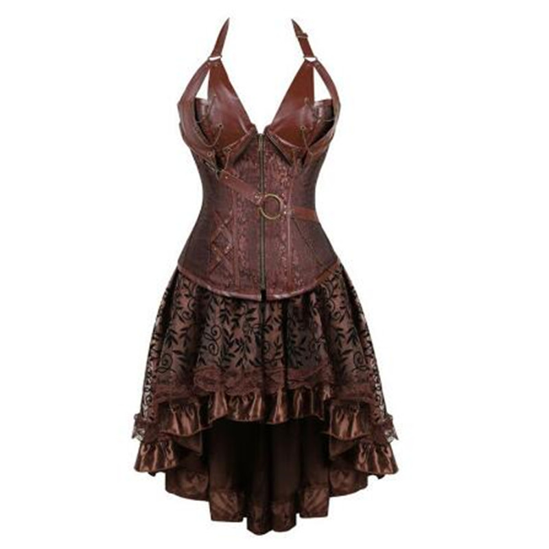 steampunk   bustier     corset   dress plus size black brown zipper black faux leather   corset   with skirt gothic punk burlesque pirate
