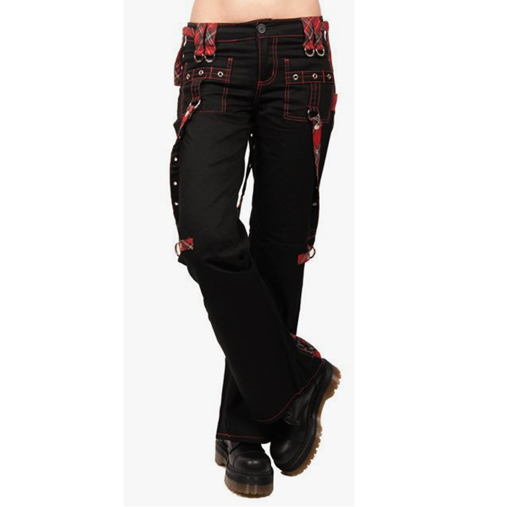 Cargo Pants Girls Gothic High Waist Black Long Trousers Women Harajuku Regular Multi-pockets Contrast Punk Pants Joggers D30
