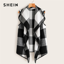 Multicolor Waterfall Collar Gingham Vest