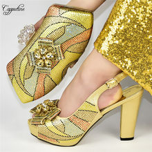 Luxury wedding/party gold pump shoes and evening bag sets with rhinestones for wedding/party 588-2, heel height 11.5cm(China)