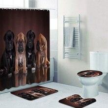 Набор занавесок для душа для ванной комнаты с милым щенком тростника Корсо, 4 шт. в комплекте, занавески для ванной, коврики, коврики, ковер дл...