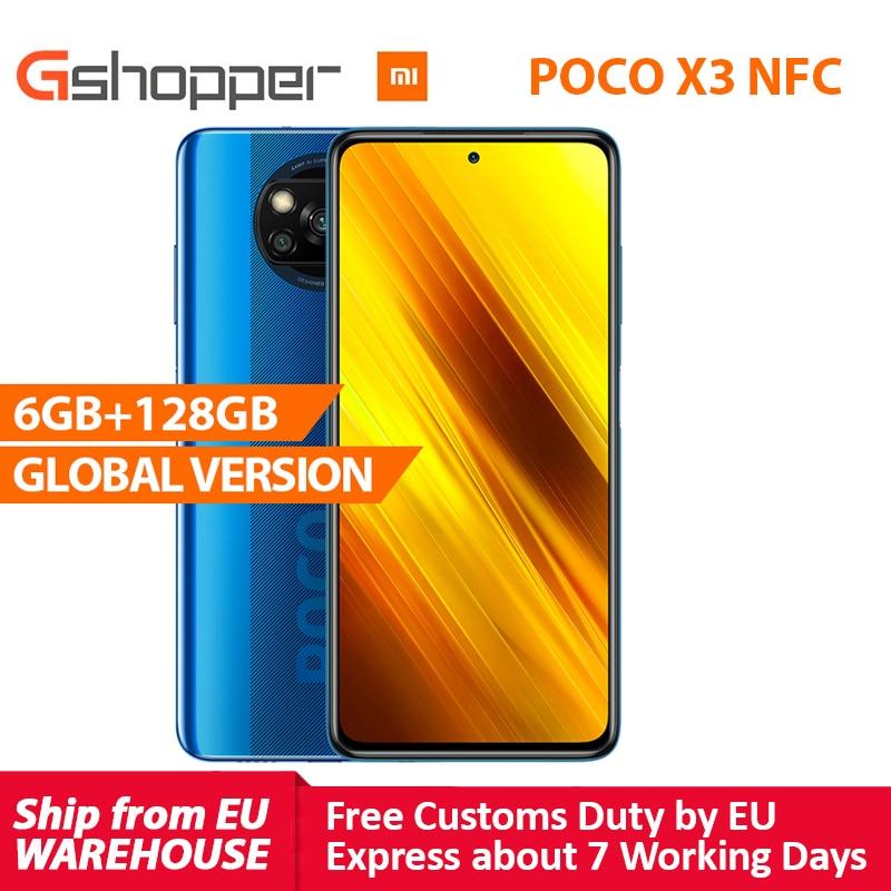 """الإصدار العالمي لهاتف شاومي بوكو X3 NFC 6GB 128GB الهاتف الذكي سنابدراجون 732G الهاتف الذكي كاميرا 64MP 5160mAh 33W تهمة 6.67 """"PocoX3"""
