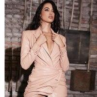 Fashion Pink Long Sleeve PU Leather Dress Women Sexy V Neck Mini Dress Celebrity Party Dress Vestidos Wholesale 2019