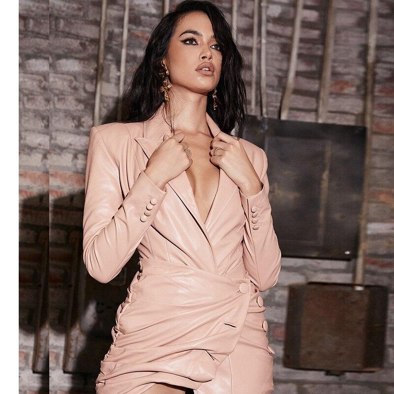 Mode rose à manches longues en cuir PU robe femmes Sexy col en V Mini robe célébrité robe de soirée robes en gros 2019