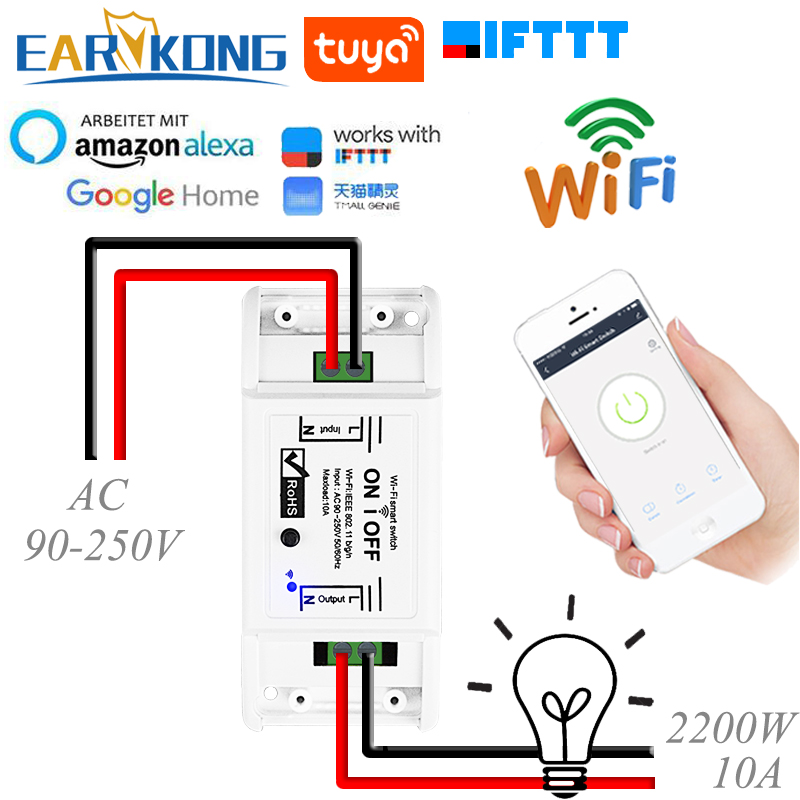 Tuya Smart WiFi Switch Universal Breaker Timer Remote Control Compatible With Smart Life Alexa Google Home IFTTT Tuyasmart APP