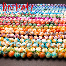 Free Shipping Natural Stone Orange Blue Dots Rainbow Round Loose Beads Fit Diy Handmade Charms Spacer Jewelry Making