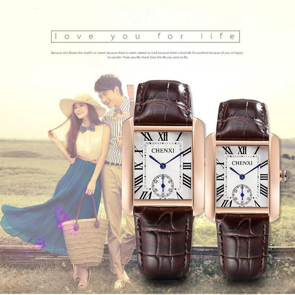 High Quality CHENXI Lovers' Couples Quartz Classic Men Valentine Gift Clock Watches With Leather Unisex 30m Waterproof Watch