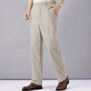 Men's High Waist Trausers Summer Pants Clothing Novelty 2020 Linen Loose Cotton Elastic Band Thin Work Vintage Wide Legs Pants 1