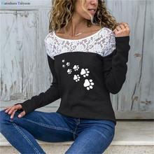Женская Кружевная футболка с принтом «Собачья лапа» и длинным