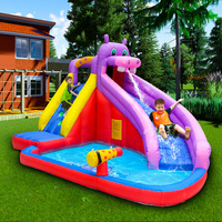 Hippo Water Slide Inflatable Bounce House for Kids Outdoor Garden Party Game Inflatable Bouncer Castle with Water Slide Park