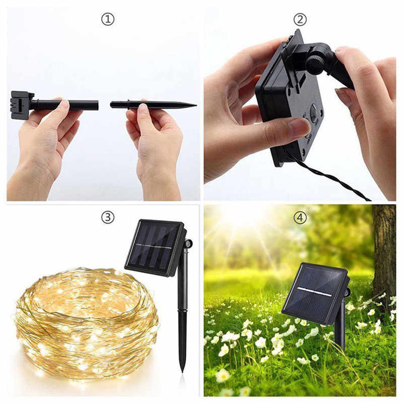 10m LED Outdoor Solar Lamp 100 LEDs String Lights Fairy Holiday Christmas Party Garland Solar Garden Waterproof Lights