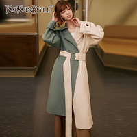 TWOTWINSYLE Vintage Patchwork Hit Color Women's Wool Coats Lapel Collar Long Sleeve High Waist Lace Up Parkas Female Fashion New