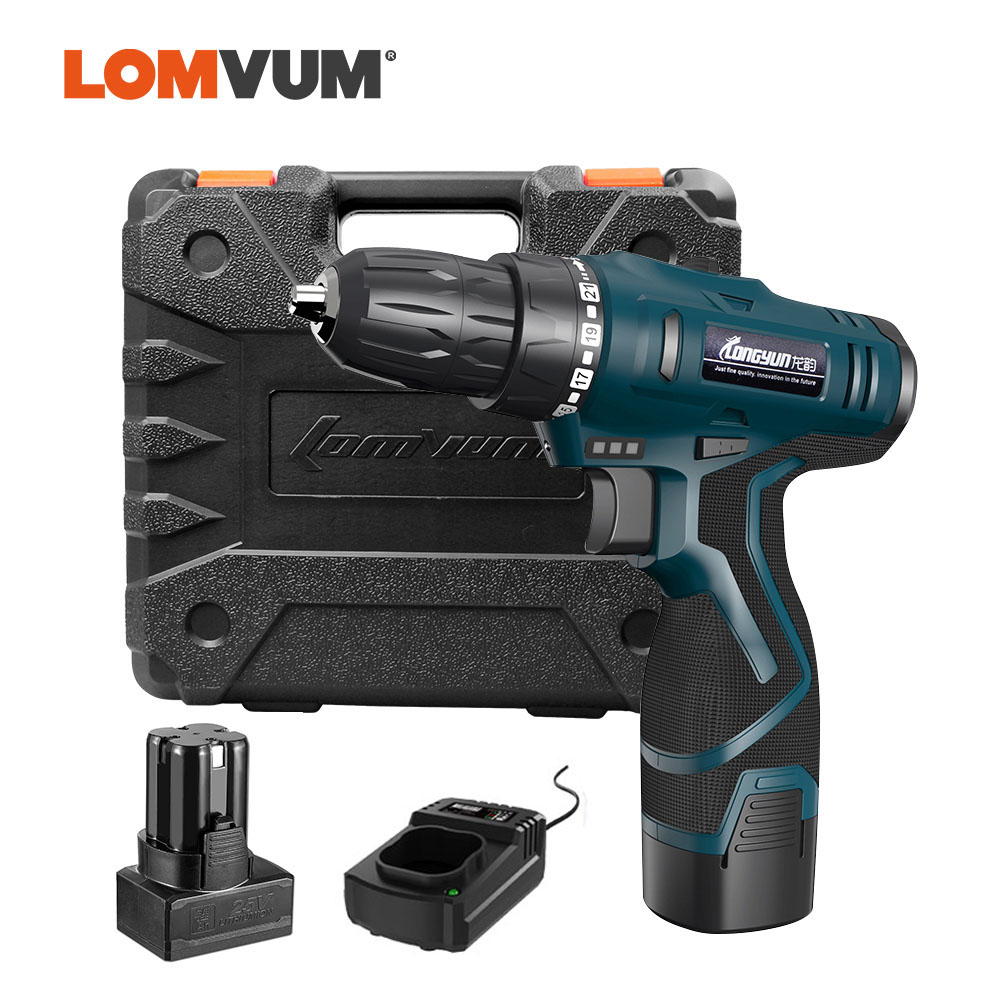 LOMVUM Electric Drill Waterproof Parafusadeira Rechargeable Electric Screwdriver Multifunction Power Tools Mini Cordless Drill