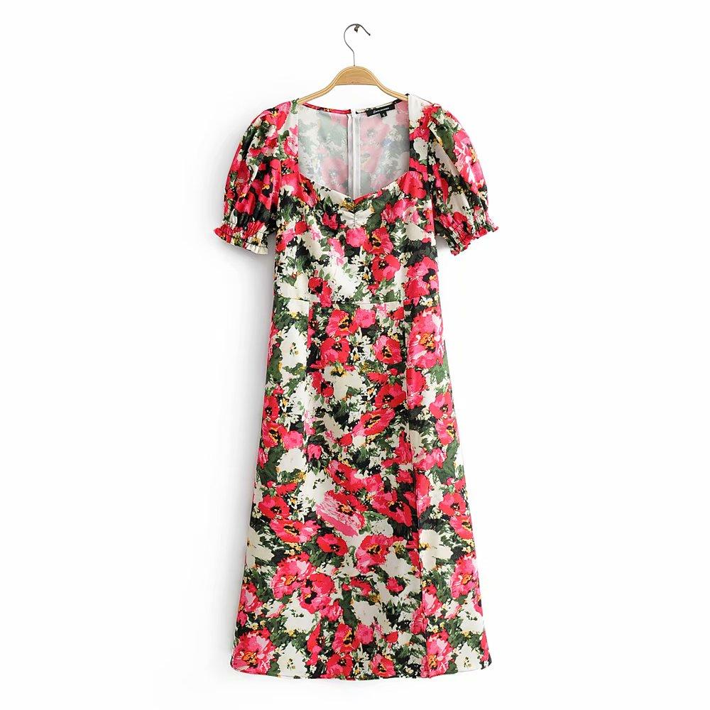 2020 Women Elegant V Neck Flower Print Split Kimono Midi Dress Ladies Chic Puff Sleeve Vestidos Casual Slim Pleat Dresses
