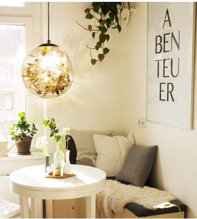 Luminária pendente criativa com flores, luz de