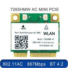 Banda dupla sem fio 1200mbps ac7265 mini pci-e wifi bluetooth 4.2 cartão 2.4g 5ghz 802.11ac adaptador para portátil melhor do que 7260hmw