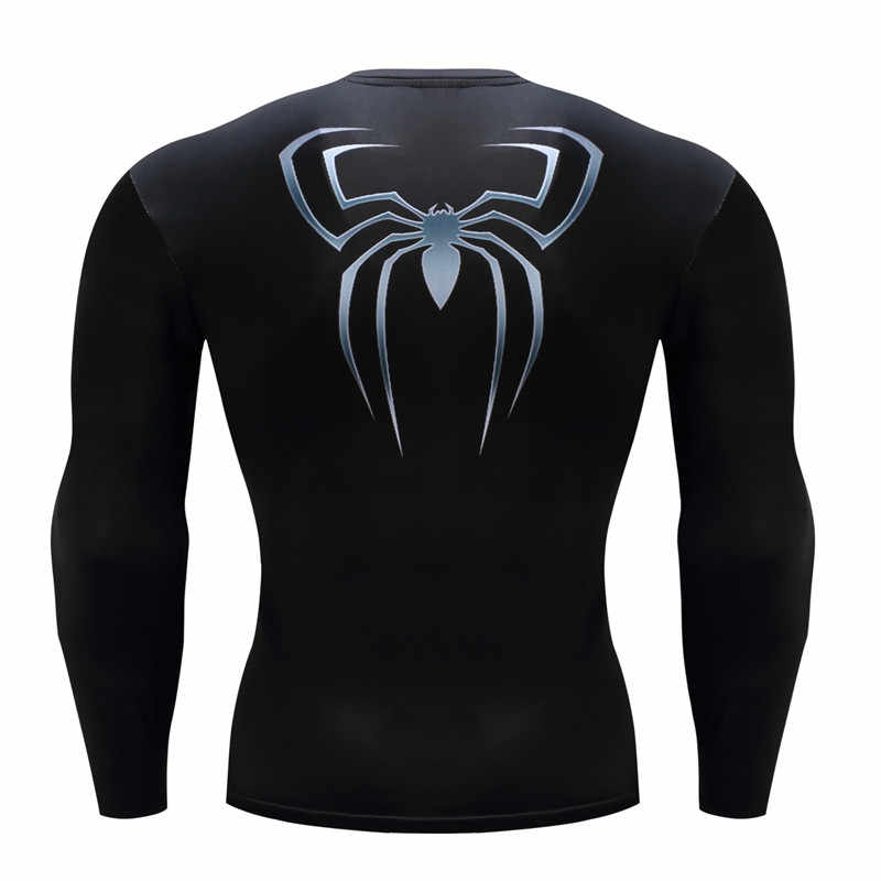 黒スパイダーマン鎧の男性の圧縮コスプレ tシャツクイックドライ tシャツ圧縮シャツタイトボディービル tシャツ