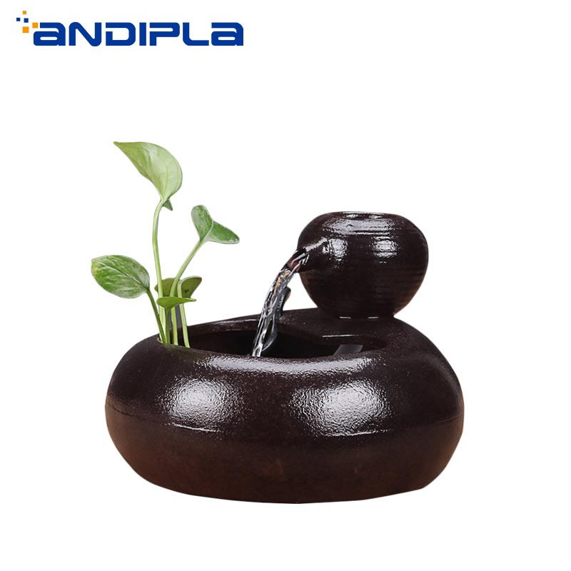 110V/220V Creative Ceramics Feng Shui Wheel Lucky Mini Water Fountain Desktop Ornaments Hydroponics Plants Flower Pot Fish Tank