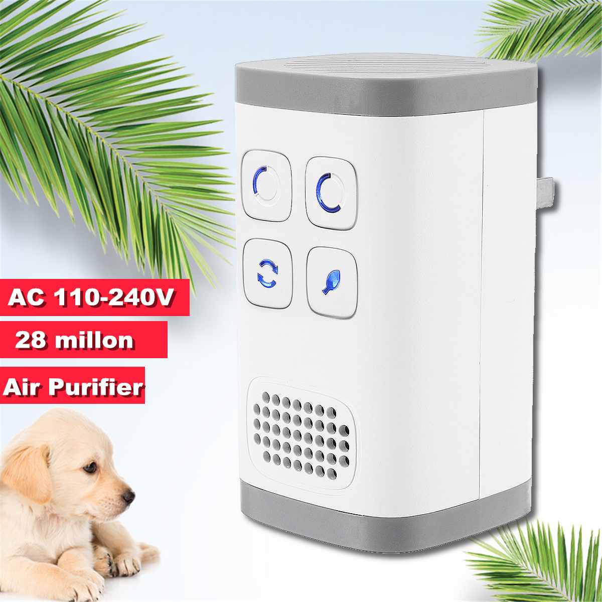 Air Purifier and Ozone Generator with 28 Million Negative Ions for Deodorizing Home and Bathroom 6