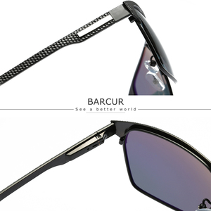 Image 2 - BARCUR Black High Quality Polarized Sunglasses Men Driving Sun Glasses for Man Shades Eyewear With Box