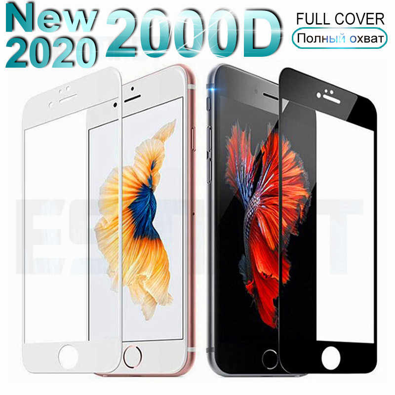 2000D Curved Edge Full Cover Tempered Glass For iPhone 6 6S 7 8 Plus Screen Protective Glass on For iPhone 7 8 SE 2020 Film Case
