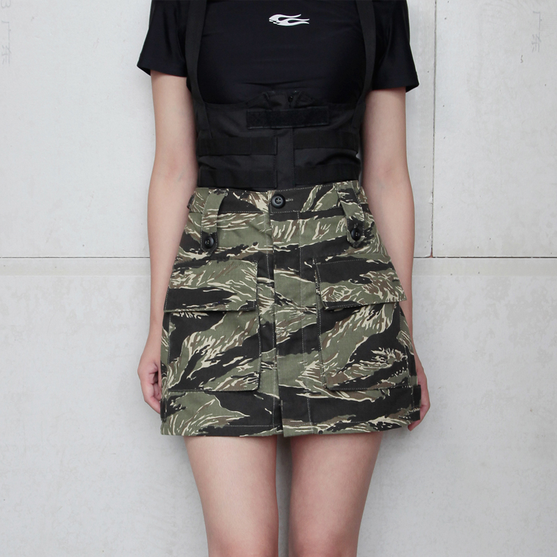 2019 New Woman Tactical A Line Skirt Tiger Tabby  Camouflage Woman Skirt Tiger Stripe Skirt
