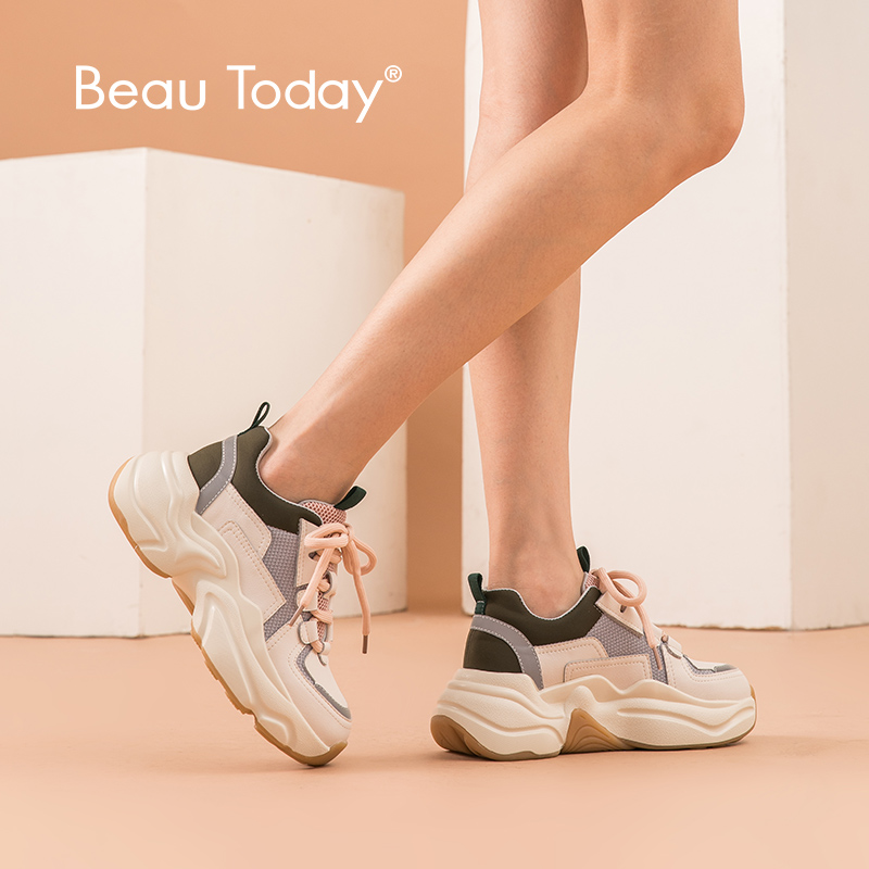 BeauToday Chunky trampki damskie oryginalne skóra bydlęca krzyż wiązane na Retro platformy klinowe modne buty mieszane kolory Handmade 29324 w Damskie buty typu flats od Buty na  Grupa 1