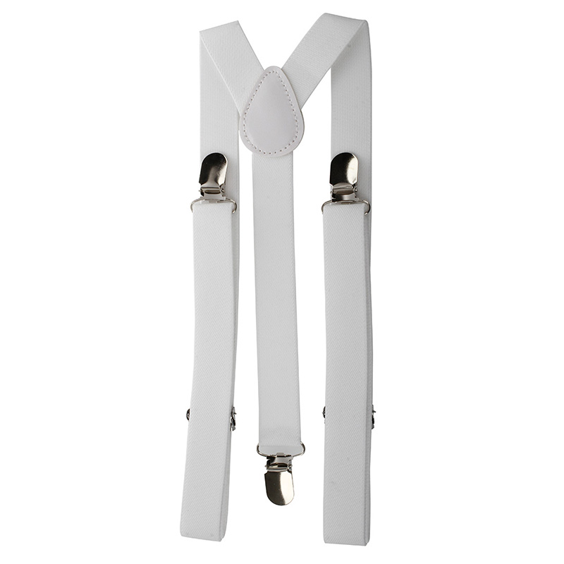 Lady Woman Adjustable Metal Clamp Elastic Suspenders Braces - White