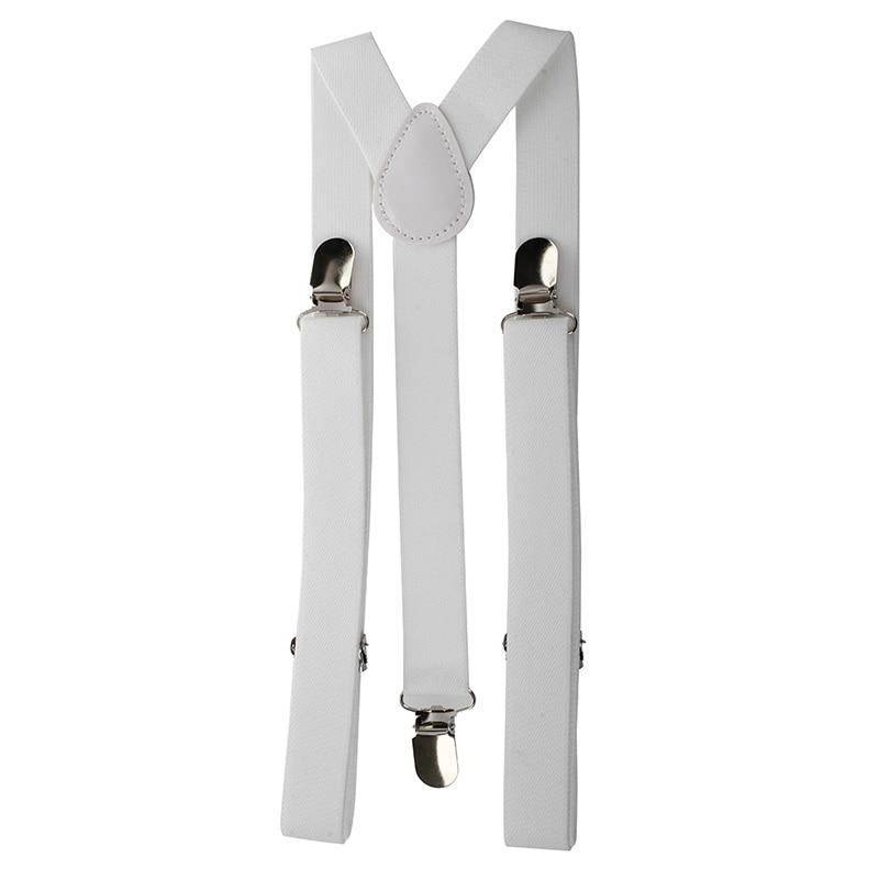 Lady Woman Adjustable Metal Clamp Elastic Suspenders Braces - White