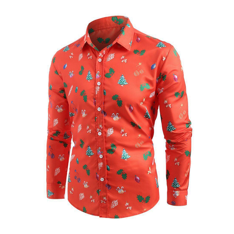 Printed Long Sleeve Men Shirt Clothes Casual Christmas Tree Blouse New Year Party Blouse Tops Chemise Homme Autumn Winter Top