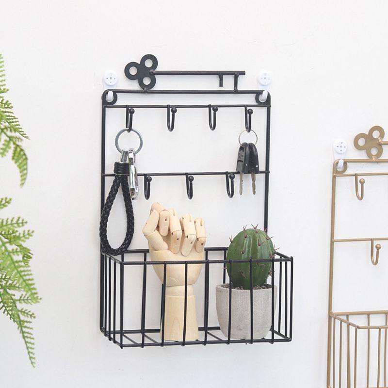 1PC Wall Mouted Key Hook Racks 7 Hooks Pocket And Letter Sorter Organzing Basket Kitchen Home Office Decor 3 Colors