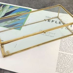 Image 5 - Golden Golden Vintage Glass Lidded Box Edge Bracelet Keepsake Decorative Jewelry Display Personalized Large Clear Rectangle Box