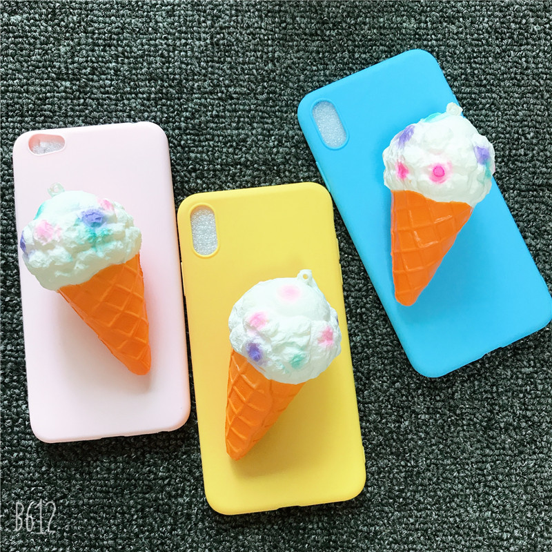 Soft silicone Phone <font><b>Case</b></font> For <font><b>Vivo</b></font> Y51 Y53 Y55 Y66 Y67 <font><b>Y69</b></font> Y71 Y75 Y83 Y81 Y85 Y93 Y97 Y91 Y95 IQOO <font><b>3D</b></font> Cute ice cream Candy Cover image