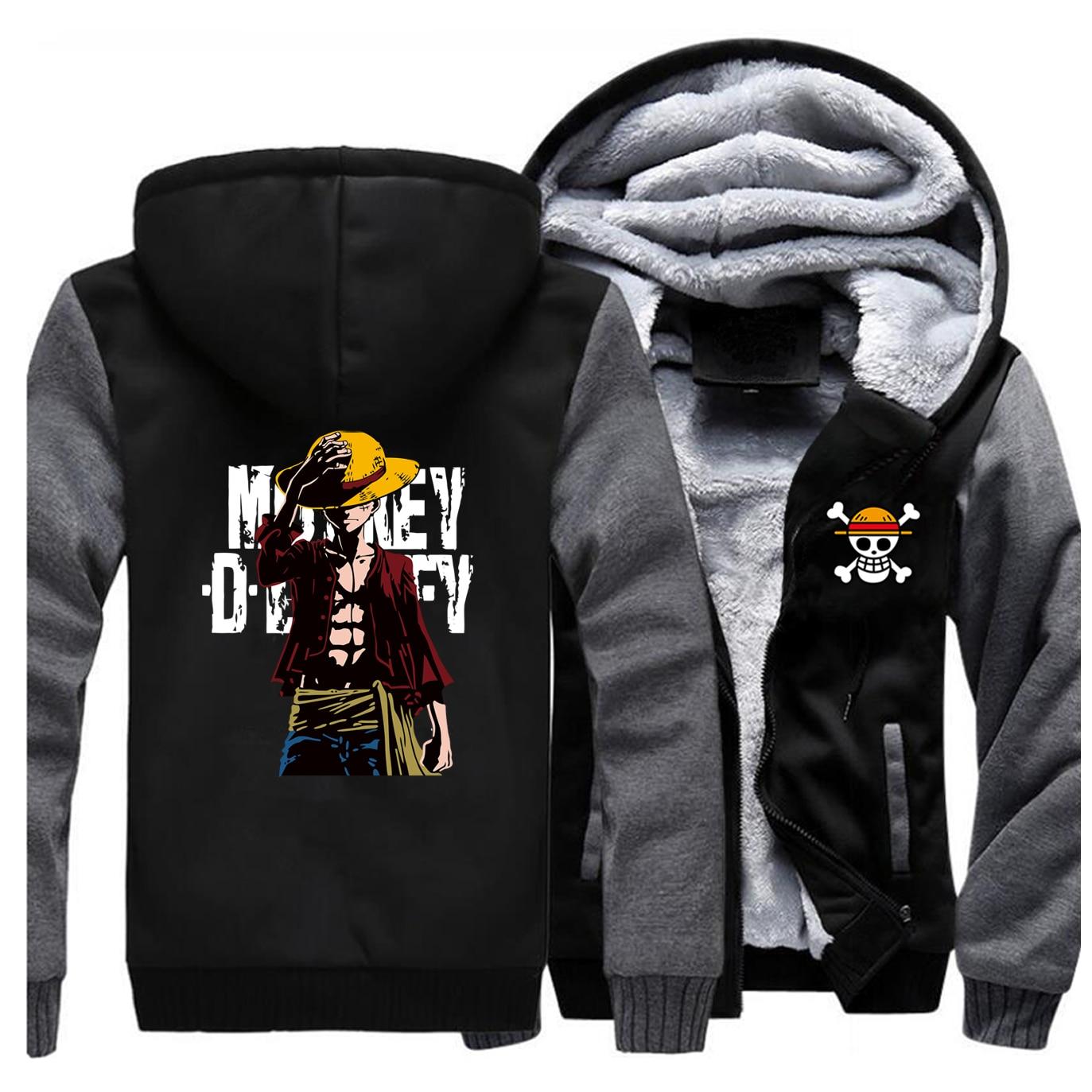 Одна штука куртки мужские Луффи Толстовка в стиле японского аниме толстовки зимние толстые молнии флис пиратский король пальто куртка спортивная одежда