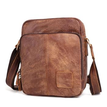 Casual Retro Mens Genuine Leather Cross Body Bag First Layer Cowhide Men's Bag Matte Leather Shoulder Bag for Man 2018 rivet genuine leather women s small messenger bag mini flap bag first layer cowhide one shoulder cross body quality bag