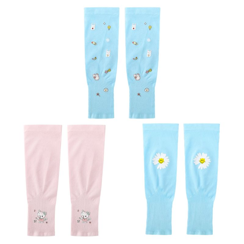 Kids Summer UV Protection Arm Sleeves Cartoon Cycling Sunscreen Cooling Gloves 2020 Summer Ice Silk Sunscreen Sleeves