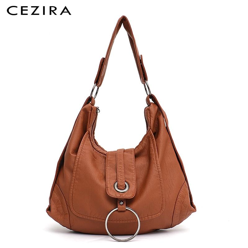 CEZIRA Fashion Vegan Leather Large Hobo Bag Women Washed PU Shoulder Bag Metal Ring Flap Ladies Brand Design Tote Female Handbag