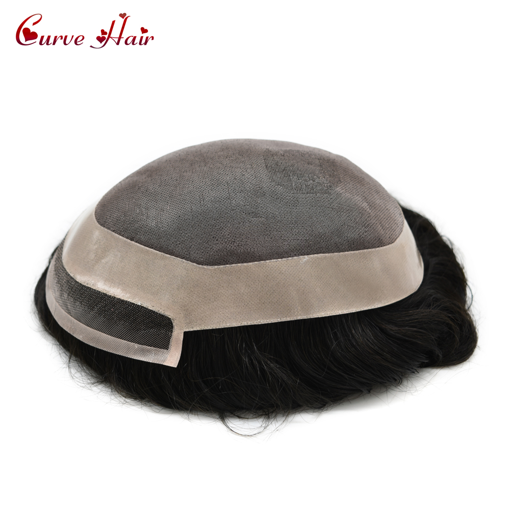 Fine Mono & Poly Around Mens Toupee 100% Human Hair All Hand Tied Light To Medium Density Jet Black Hair Replacement System 1#