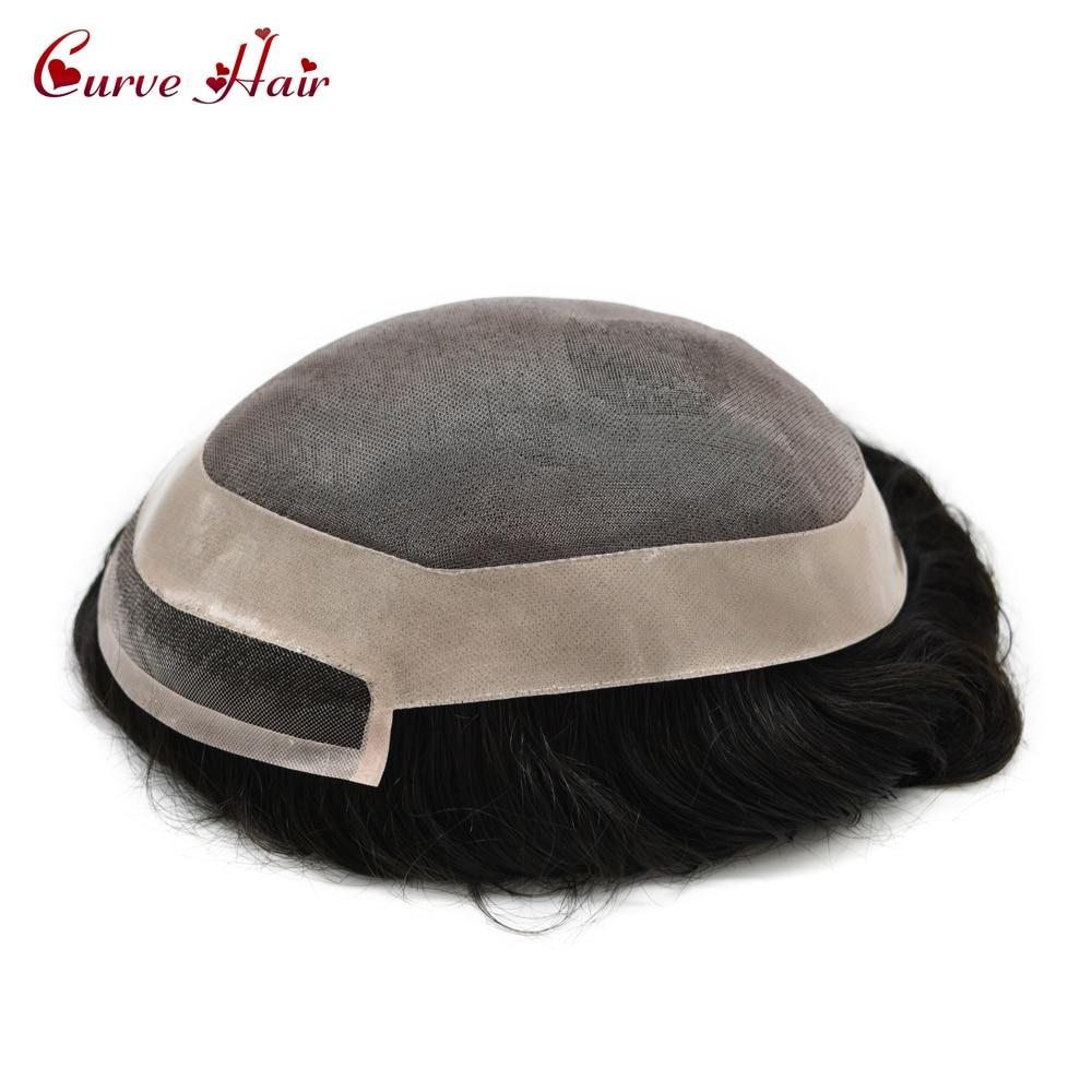 Fine Mono & Poly autour des hommes toupet 100% cheveux humains tous attachés à la main lumière à moyenne densité jais noir système de remplacement de cheveux 1 #