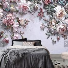 3D 8D Embossed Rose Flower Wall Mural Photo Wallpaper for Li
