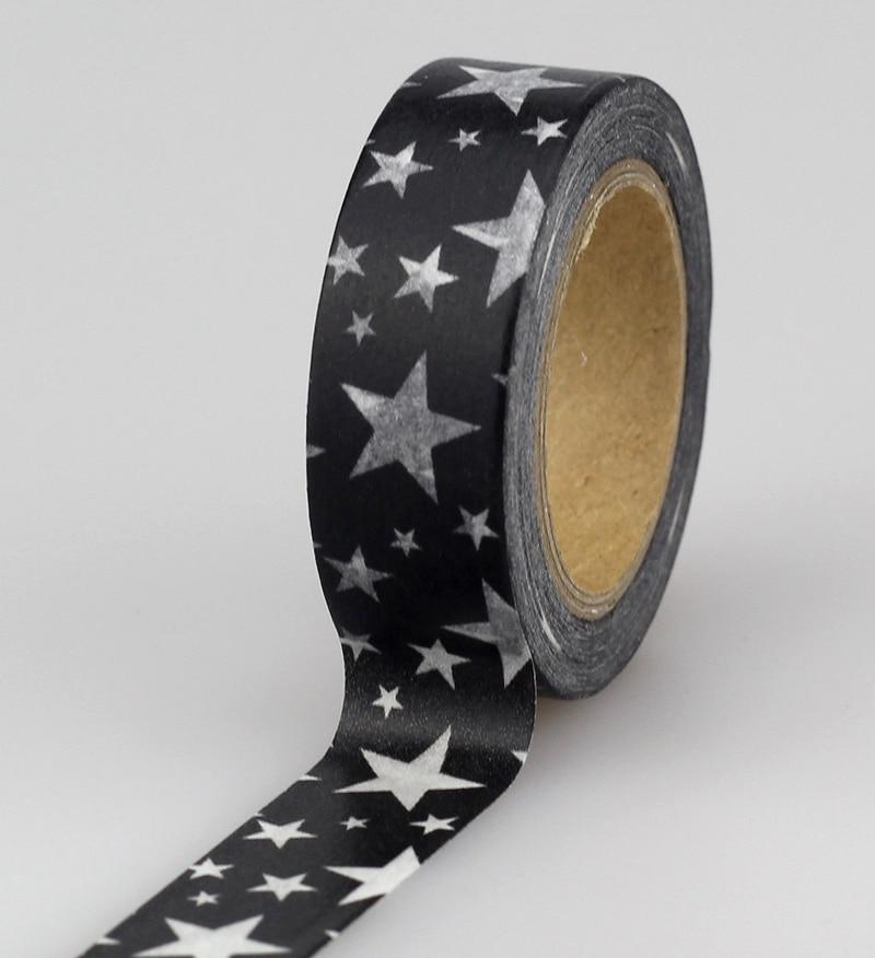 10pcs/lot Decorative Black And White Stars Washi Tapes Paper DIY Scrapbooking Planner Adhesive Masking Tapes Kawaii Stationery
