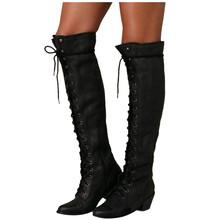 Gorąca sprzedaż wiosna jesień sznurowanie buty do kolan kobiety moda czarny Western rycerz długie buty damskie skórzane buty zimowe Pu tanie tanio SAGACE Podkolanówki Wiązanej krzyżowe Stałe FEMALE shoes boots Women Plac heel Podstawowe NONE Okrągły nosek Wiosna jesień