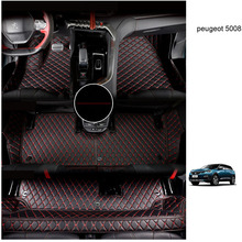 lsrtw2017 leather car floor mat for peugeot 5008 2017 2018 2019 2020 7 seats 3 rows carpet accessories interior foot