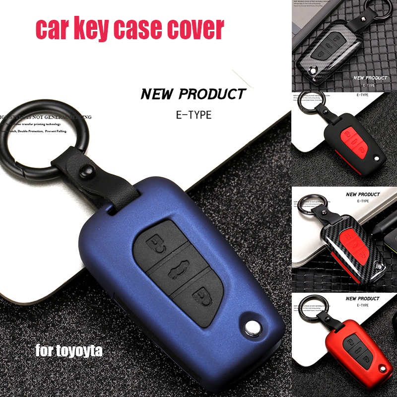 1set car <font><b>key</b></font> cover <font><b>case</b></font> shell fob Protection <font><b>Key</b></font> Shell Cover <font><b>Case</b></font> For <font><b>Toyota</b></font> Rav4 <font><b>2018</b></font> Prius Camry <font><b>Corolla</b></font> Avensis Carbon Fiber image