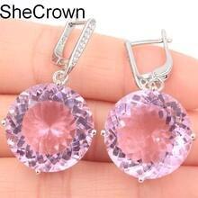 Большие круглые тяжелые 16,1 г 20 мм розовый кунцит CZ Женские Подарочные серебряные серьги 38x20 мм