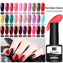 NEE JOLIE 30 Colors Gel Nail Polish Pure Color Soak Off UV Varnish Lacquer 8ml Manicure Base Coat No Wipe Top