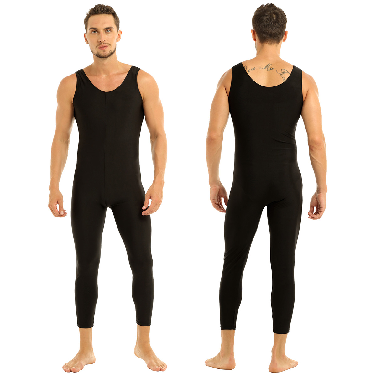 Men Sleeveless Leotard Bodysuit Lycra Tights Leggings for Ballet Dance Vest Teddy Sports Unitard Catsuit Male Dancewear Jumpsuit 29