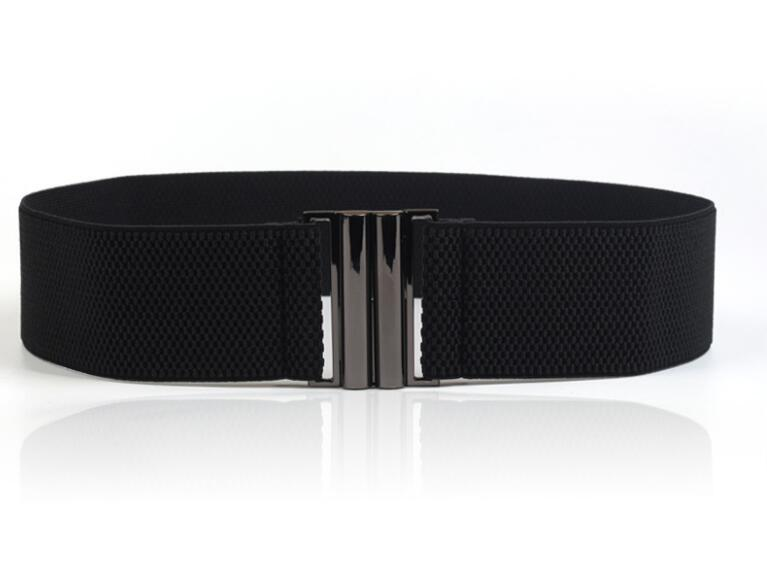 New Waistband  Women's Waistbands Elastic Wide Belt Gold Buckle Cummerbund Female Black Strap White Dress Decoration Gifts