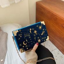 Metal Badge Box Shape Handbag Purse Women Black Chain Party Clutch Bag Kawaii Shoulder Bag Crossbody Messenger Bag