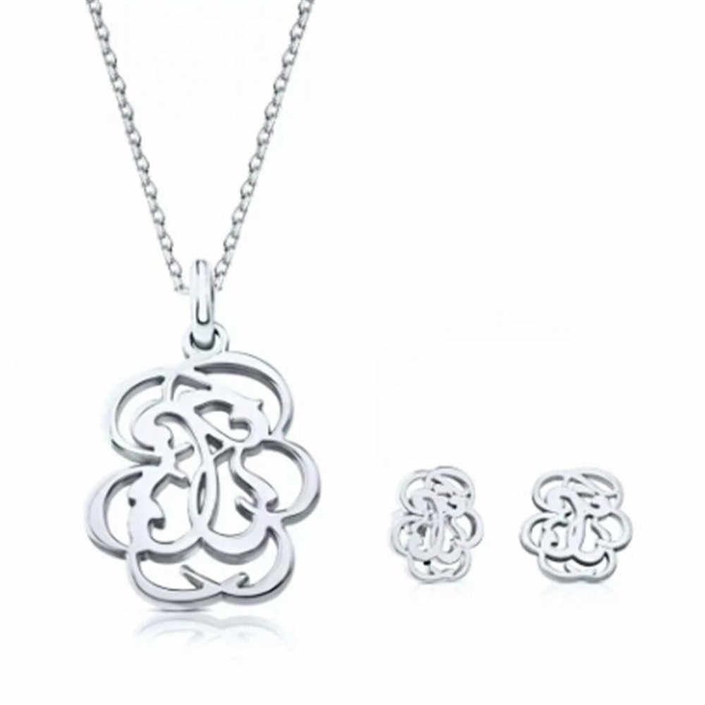 bear set Stainless Steel Memorial Love Flower Silver jewel Gold jewelry Memorial Animal Pendant Necklace Earrings set bracelet
